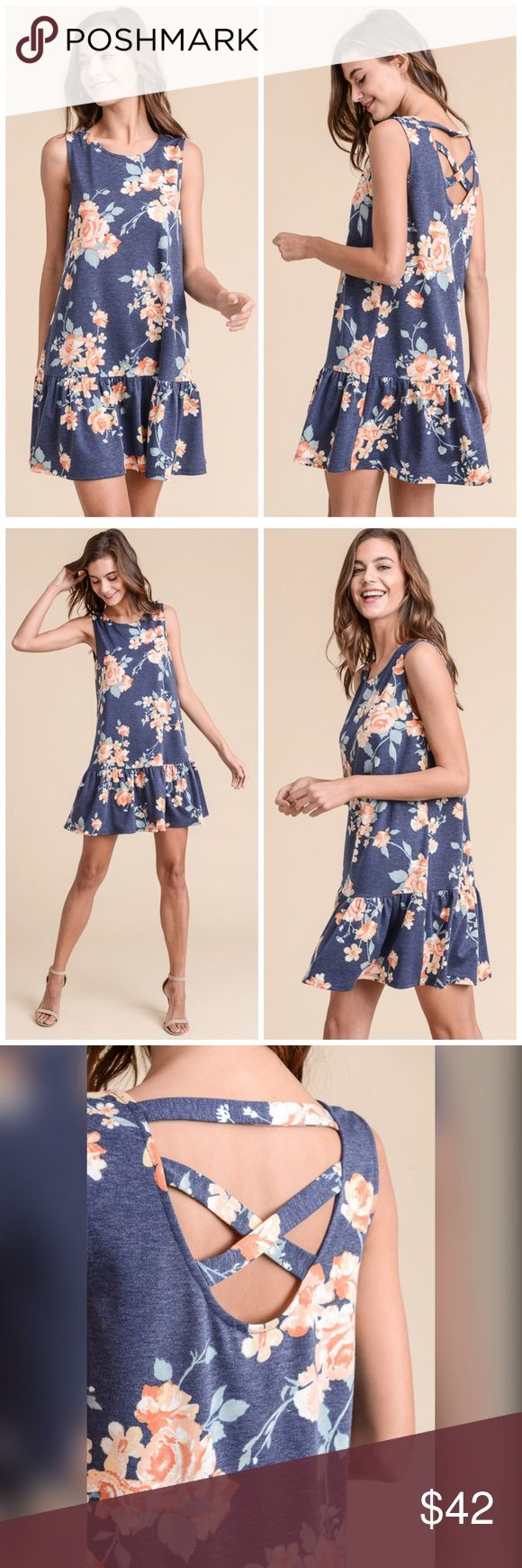 PREORDER Crisscross Ruffle Dress in French Terry💕 CRISSCROSS BACK FLORAL DRESS WITH RUFFLED HEM MADE IN USA 95% POLYESTER, 5% SPANDEX Dresses