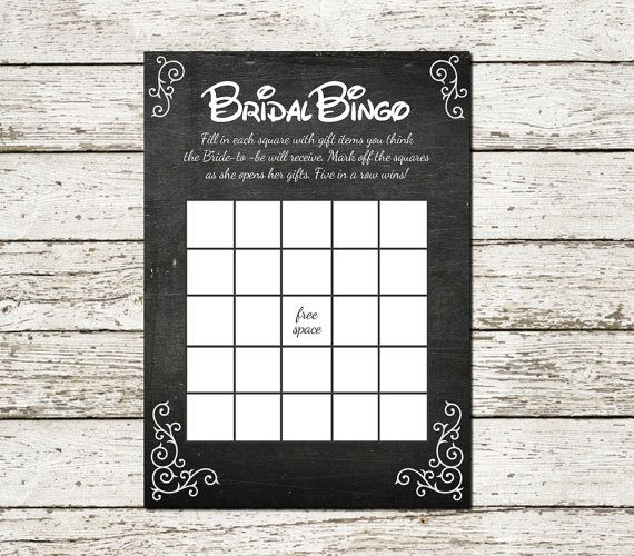 Beauty and the Beast Chalkboard Bridal Shower Bingo Printable Game Princess Wedding party games instant download rustic chic