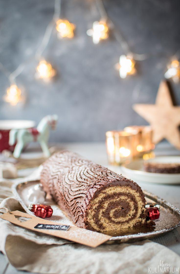 Das etwas andere Weihnachtsdessert - eine klassische, französische Bûche de Noel. Köstlicher Nussbiskuit mit einer Schokocreme