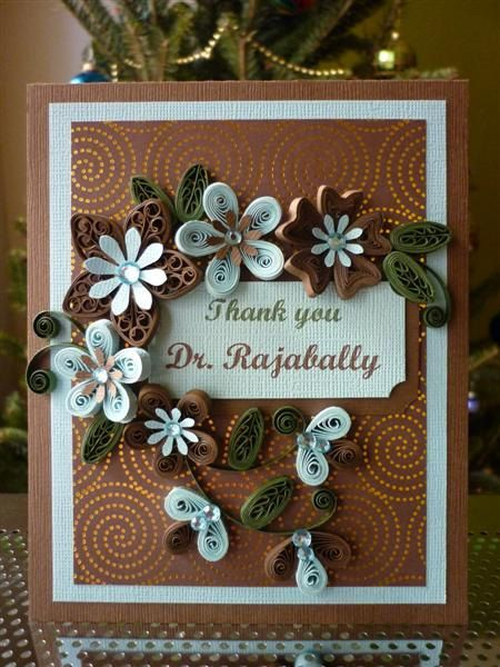Handmade Greeting Blue & Brown Paper Quilling Card with Quilled Flowers by FromQuillingWithLove