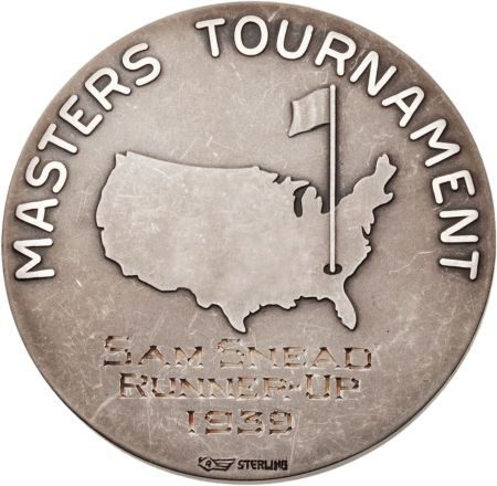 The silver medal awarded to Sam Snead after he fell a stroke short of winning the Masters at Augusta in 1939.