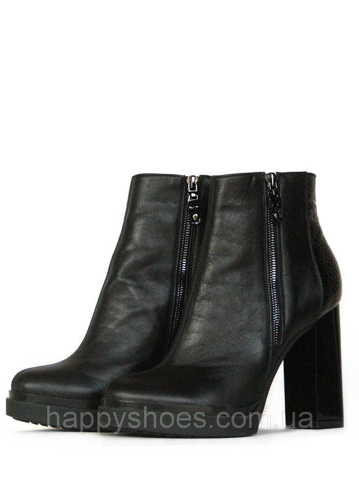 """Купить Черные ботинки на высоком каблуке в Запорожье от компании """"HappyShoes"""" - 441670177"""