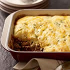 Cheesy Cornbread Casserole Recipe: 1 lb lean ground beef, 1 onion, 1 jalapeno, 1 15 oz can enchilada sauce, 1 15 oz can black beans, 1 t garlic powder & cumin, 1 8.5 oz package corn muffin mix 1 8oz pkg four cheese mix. Brown meat with onions and pep. Stir in next 4. Cook, stir 3 min. Add to 13x9 dish. Prepare muffin batter, stir in cheese, spread over meat. 350, 20 min.