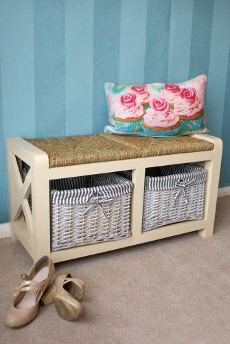 Wooden 2 Seater Storage Bench Seat Unit Wicker Baskets Kitchen Bedroom  Hallway | EBay