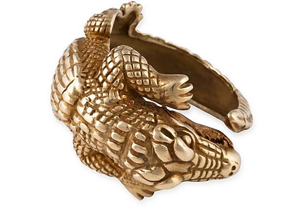 "Meriwether McGettigan, Vintage Kieselstein Alligator Ring, 18K yellow gold, size 10; height above the finger, .25""H; length along the finger, .75""L  3899"