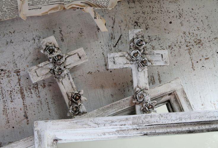 Set of 2 Small Cross Design Mirrors French Nordic French Country Wall Mirror Accent Mirror  Wall Collage Distressed Hand Painted Home Decor by TheVintageStories on Etsy