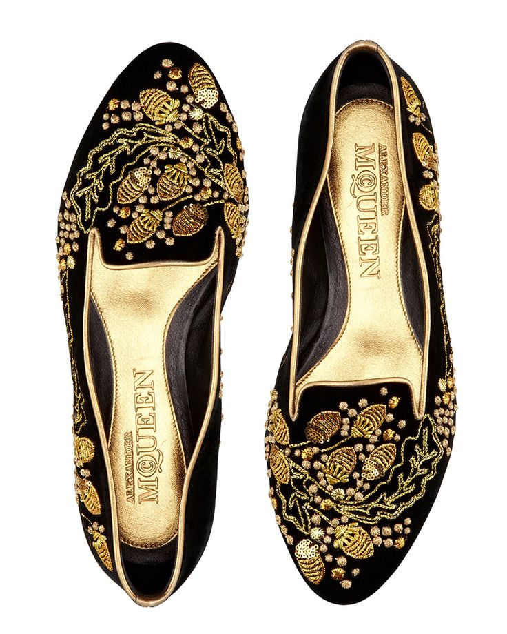 MAXIMUM IMPACT: Alexander McQueen redefines smoking slippers with these gilded, ornate slip ons.      (BB)
