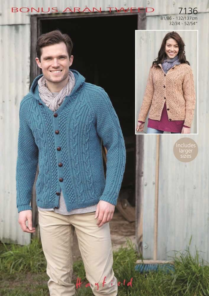 Ladies and Mens Round Neck and Hooded Cardigans knitted in Bonus Aran Tweed