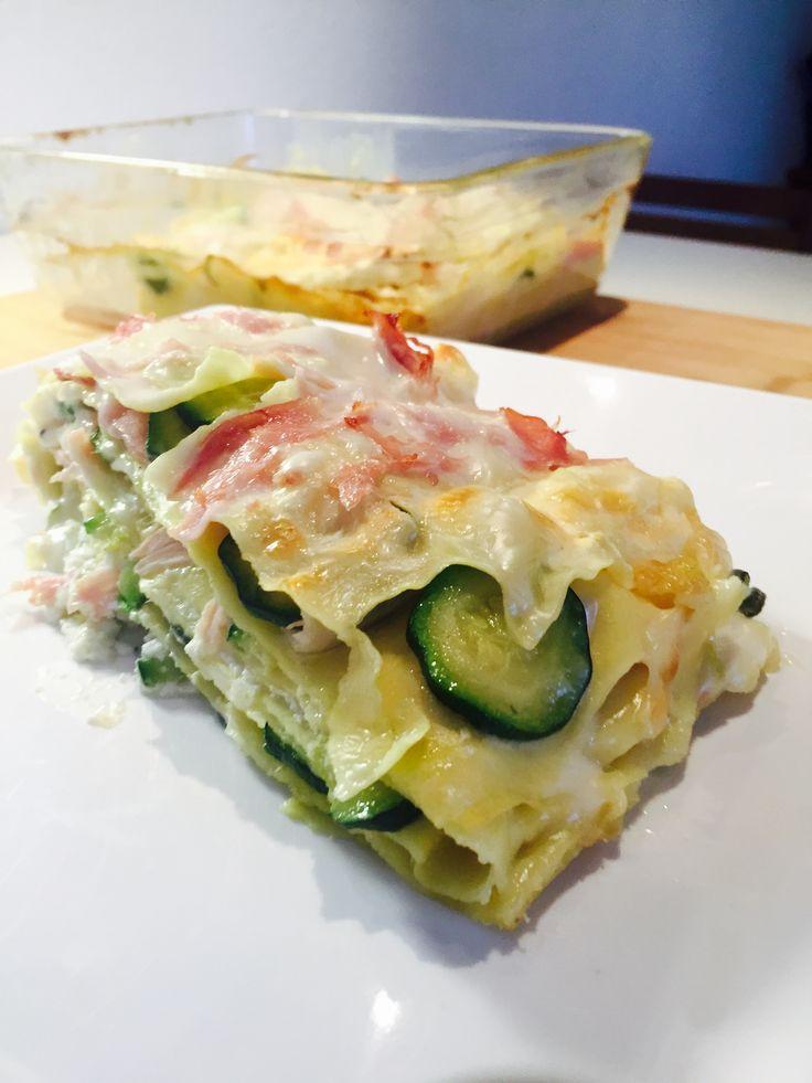 Lasagne bianche zucchine prosciutto e ricotta
