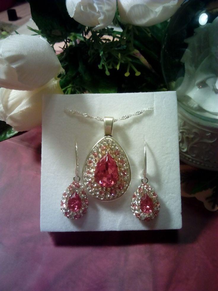 Sterling silver and papdarasha Swarovski crystals jewelry set.