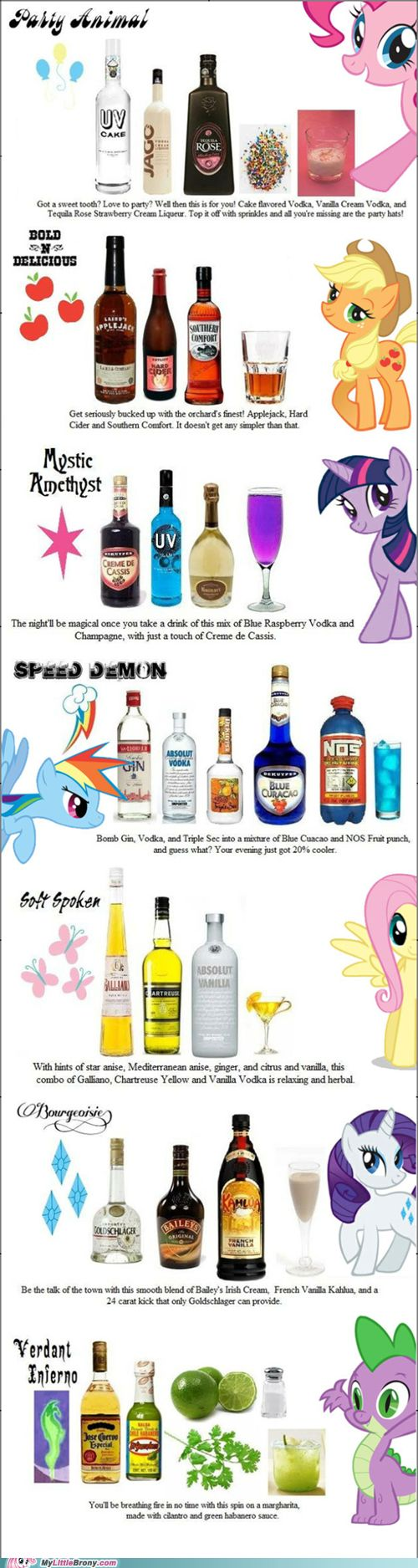 I love the Pinkie Pie one, I even have cake vodka in my freezer right now. :P I also think I'd like the Twilight Sparkle and Rarity ones, too. Hmm....