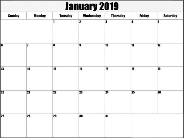 January 2019 Calendar Template Word #January2019 #January
