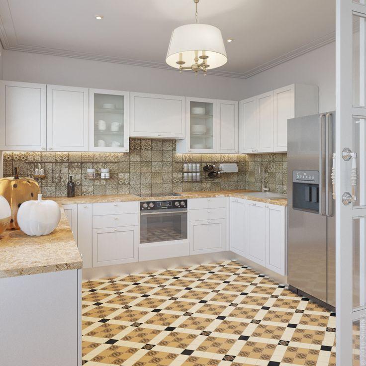 Просторная кухня с лаконичным белым гарнитуром и акцентной плиткой на полу.