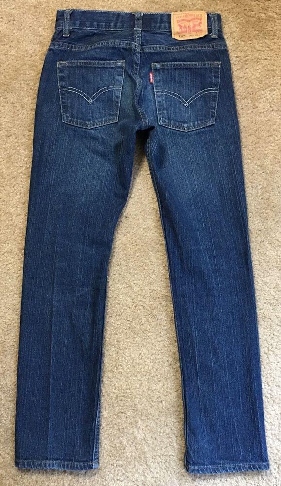 Levis 511 Jeans Girls Size 14 Slim Dark Distressed 28x27.5 #Levis #SlimSkinny #Everyday