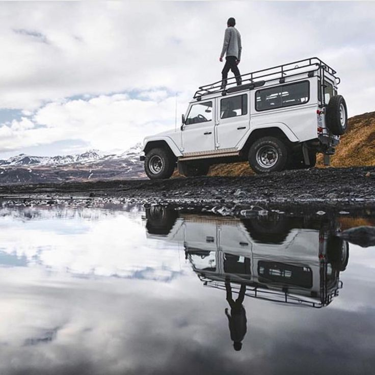 Walking on #Iceland #Landrover #Defender 110