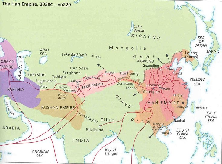 Asian continent during the time of the Roman Empire. Han Dynasty  (206 BC-220 AD)was the first big empire in China spreading from Yellow River basin. Dont forget that for romans, Asia was their province in Anatolia (modern Turkey), which is also called Asia Minor today.