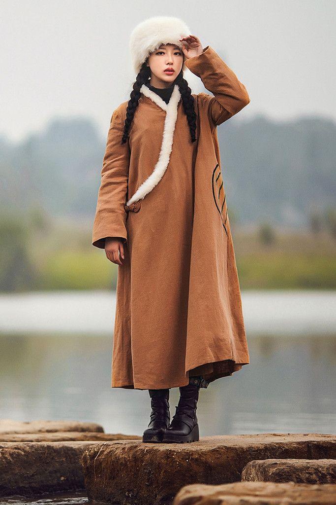 National Camel Maxi Dress, Cotton Coat Jeep Jacket,Faux Fur Collar Outwear Coat,Winter Coat And Linen Dress,Coat Blouse