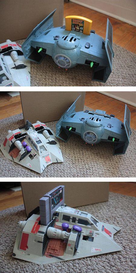 Awesome! Star Wars TIE Fighter N64 case mod and Snowspeeder SNES mod.