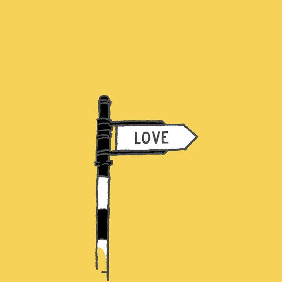 I saw this the other day and thought it is so simple and lovely.  Love... Signed and dated colourful graphic print for a