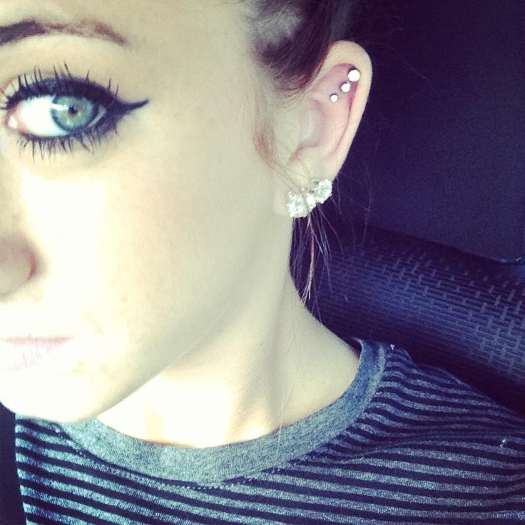 triple cartilage piercing (triple helix) with diamond ...