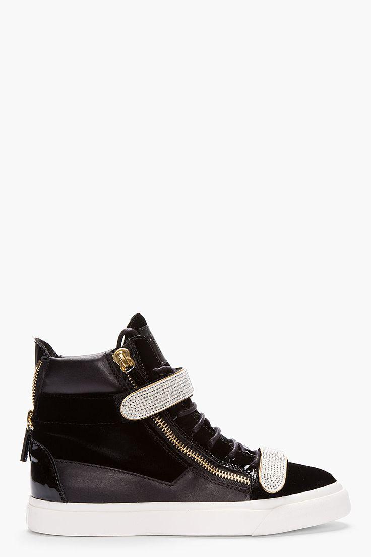GIUSEPPE ZANOTTI Black Velvet Swarovski Crystal Sneakers