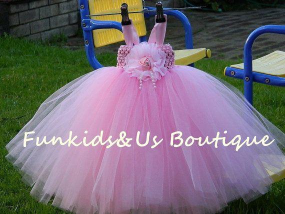 Pink Baby Tutu Dress Flower Girl Tutu Pink by FunkidsandUsBoutique, $44.20