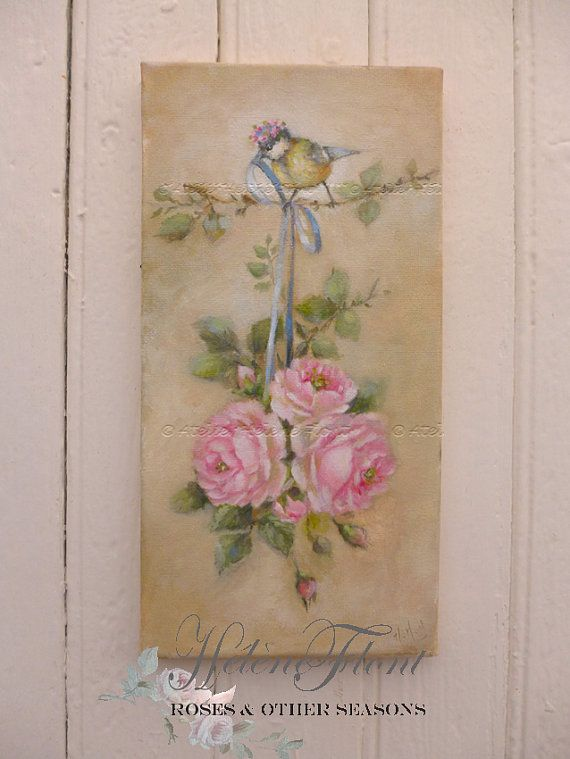 Bridal rose bouquet, Bird with flower crown by LeMarcheAuxFleurs
