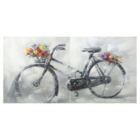 Set de 2 oleos Bicicleta 80x80 cm
