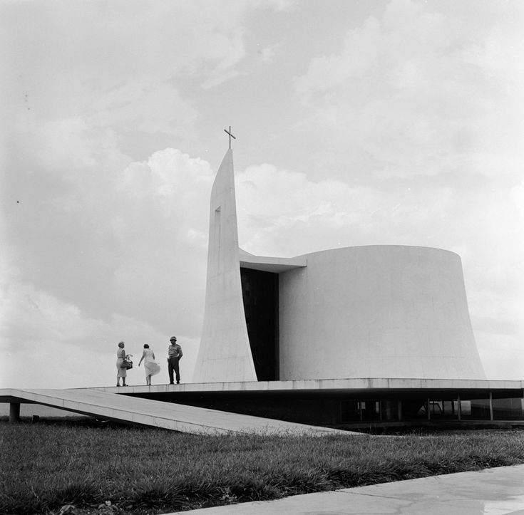 The church, designed by Niemeyer near the presidential palace in Brasilia. The church is connected to the building by an underground tunnel....