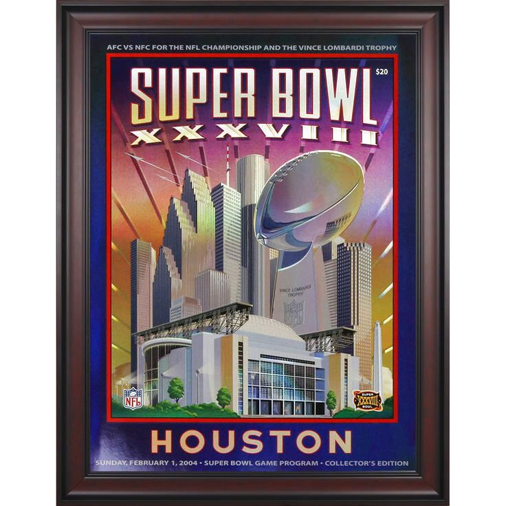 "Fanatics Authentic 2004 Patriots vs. Panthers Framed 36"" x 48"" Canvas Super Bowl XXXVIII Program - $239.99"