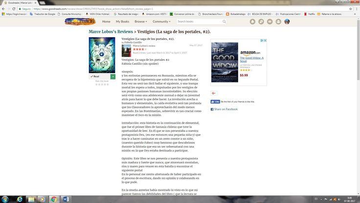 Primera reseña Goodreads de Vestigios