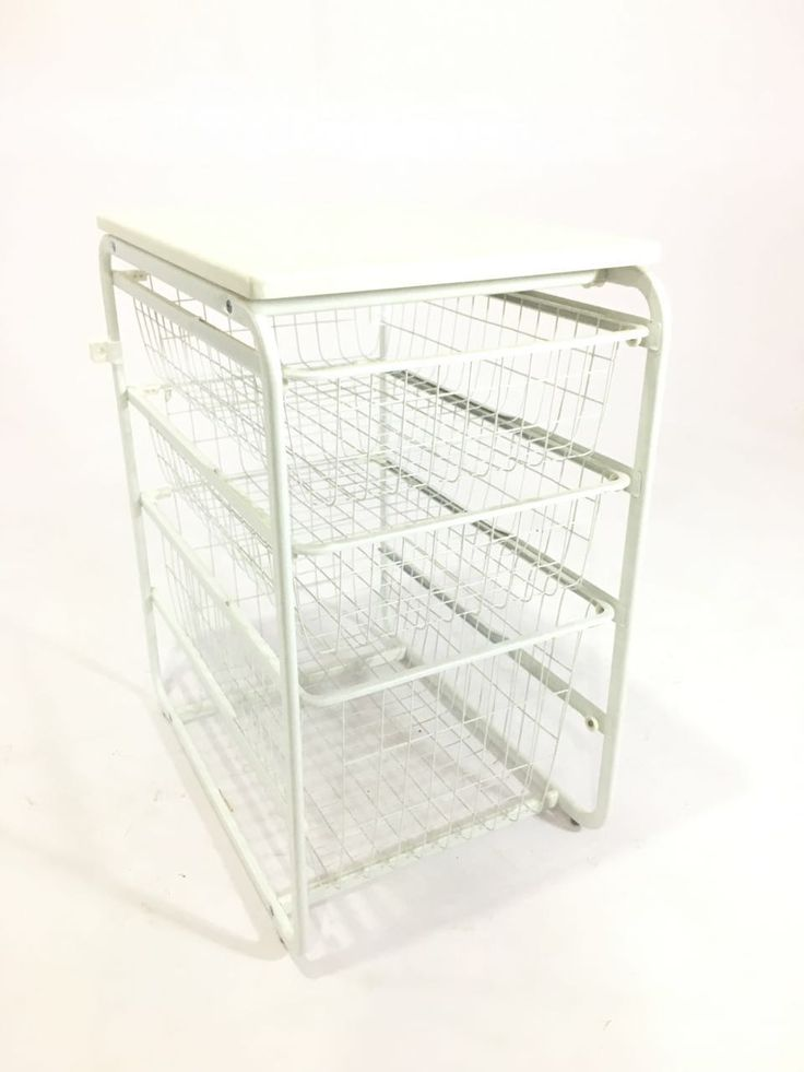 """PYF-0493--Metal White Square Net 3 Try Drawer with White Wooden Top(h28""""Xw16""""Xd24"""")"""