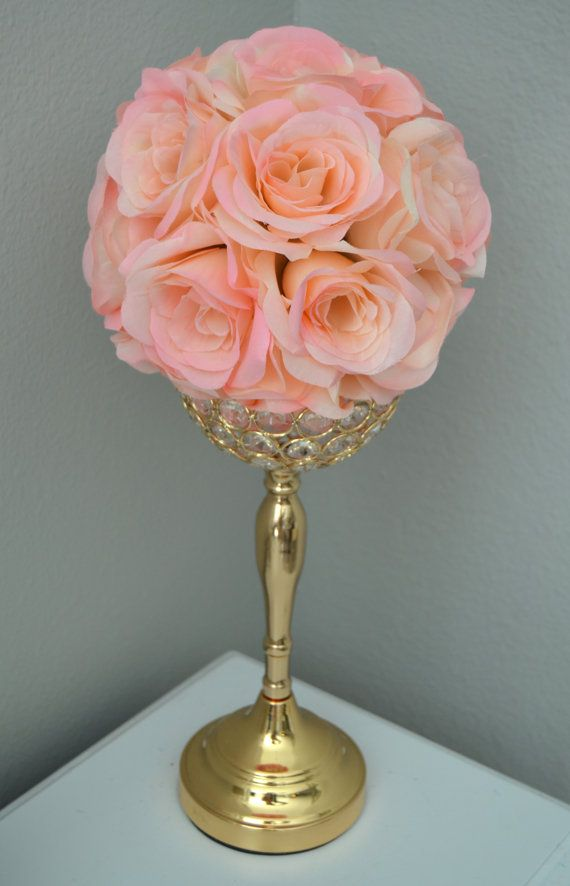 Pink blush flower ball with bling pearl brooches