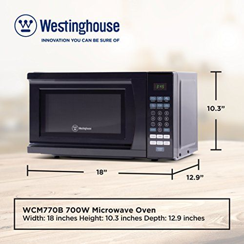 Westinghouse Wcm770b 700 Watt Counter Top Microwave Oven 0 7 Cubic Feet Black Cabinet Price As Of Details Microwave Oven Top Microwaves Westinghouse