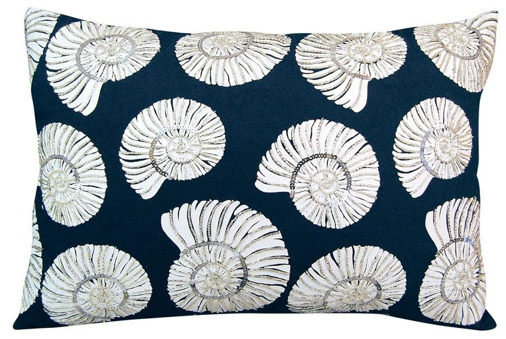 Creating a fun coastal pillow with a touch of glam!
