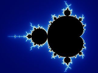 This is the Mandelbrot. f(x)->x^2+c. Every coordinate is entered in this function. The outcome is entered in the function again and so on. Some coordinates jump to infinity, some coordinates don't, some do after a number of steps. Coordinates that don't are colored black. Coords that 'escape' are colored, depending on how many steps. More blue the faster in this case. You can zoom in forever to find new patterns.