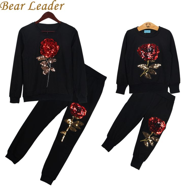 Winter Style Family Matching Outfits Mother And Daughter Long Sleeve Rose Floral Sweatshirt+Pants 2Pcs Suit