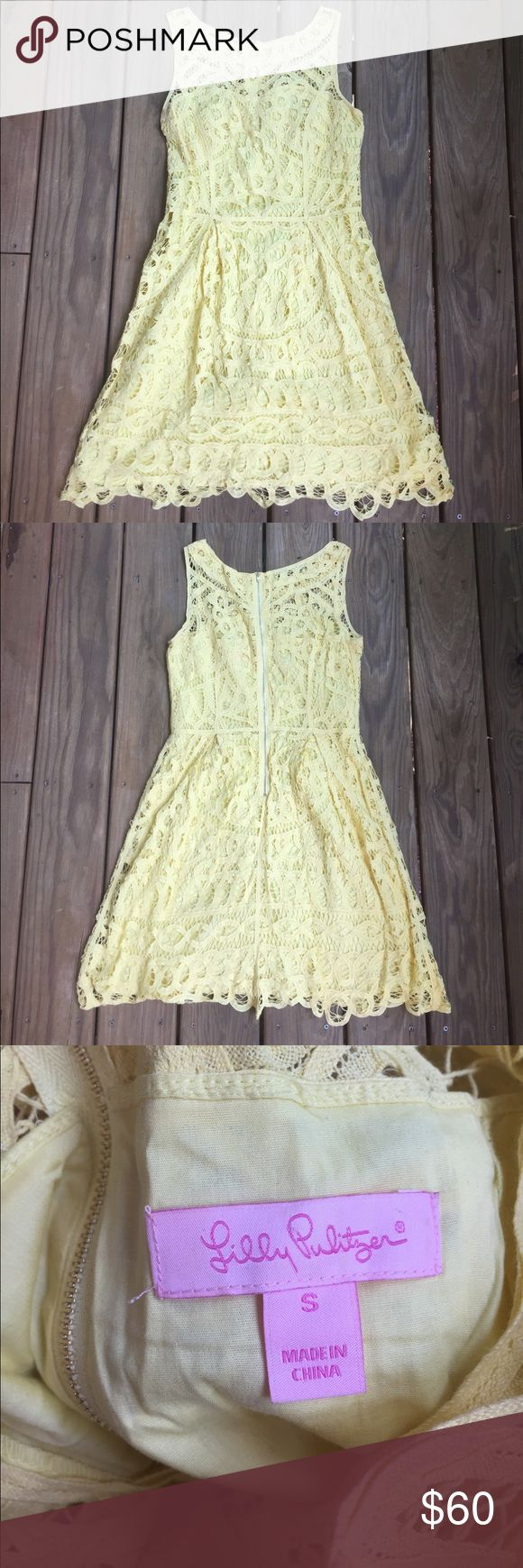 Lilly Pulitzer Yellow Lace Dress Gorgeous Lilly Pulitzer yellow dress. Has a cool lace over lay and a solid yellow lining. Size Small. Perfect for recruitment or an end of summer party. Lilly Pulitzer Dresses Midi