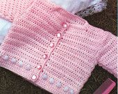 Baby Crochet Pattern for Newborn Baby Sweater with Bobble Detail (PDF)