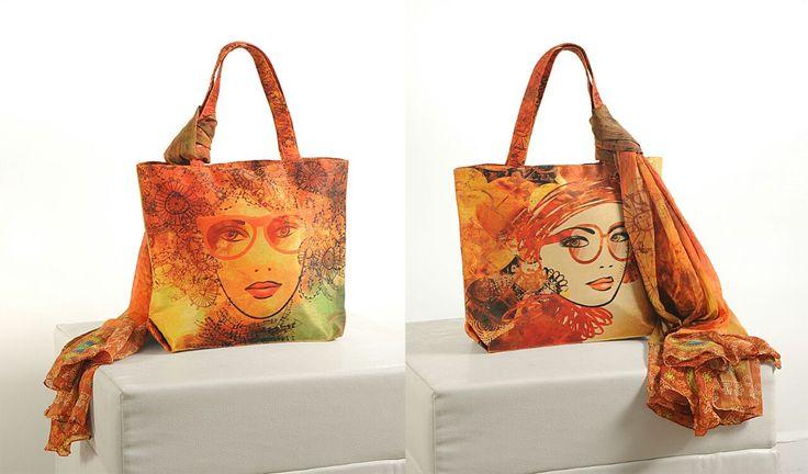 Digital Print Handbag With Scarf #CraftShopsIndia #FashionBags #HandsBags