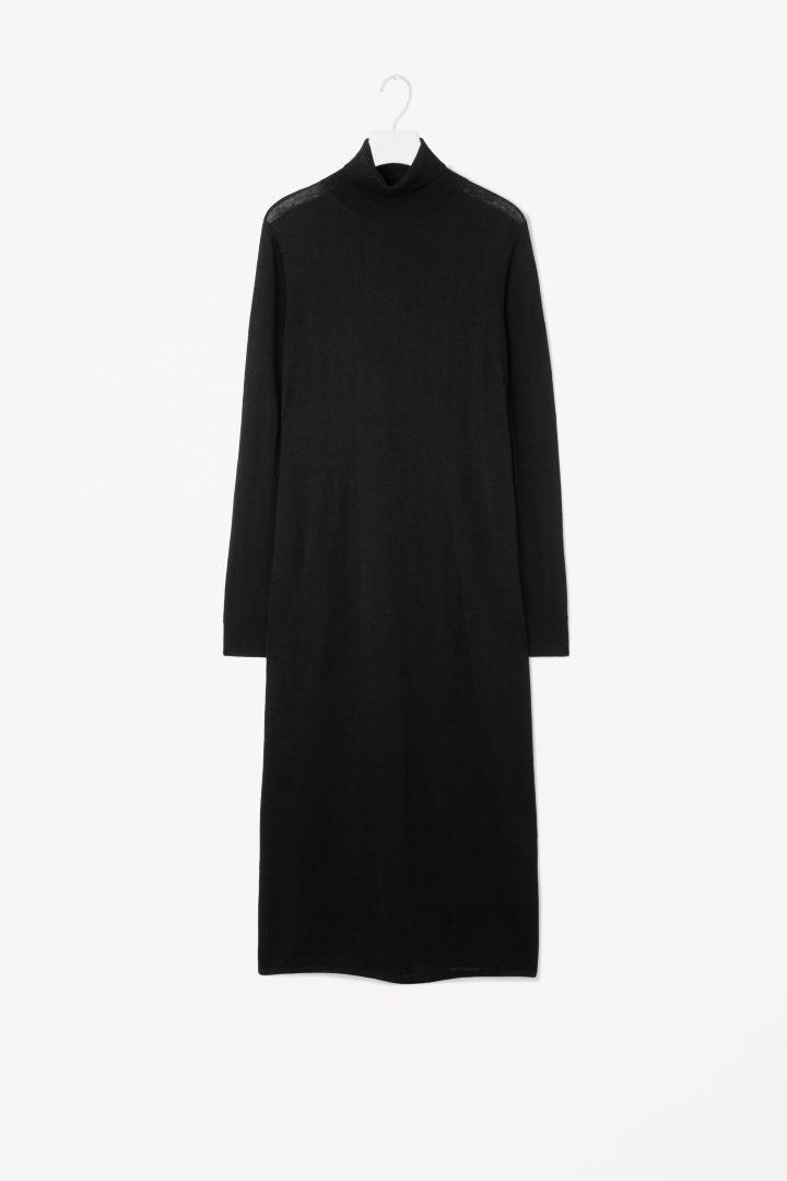 Roll-neck wool dress