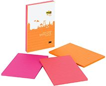 Post-it® uper Sticky Notes in 4 in x 6 in are great for to do lists. With Super Sticky adhesive your note will get noticed in places like file cabinets, doors and walls. Notes stick securely and remove cleanly.  The Bangkok Color Collection mixes up a number of Asian influences to create a spicy assortment of colors. Lined. 3 Pads/Pack, 90 Sheets/Pad.