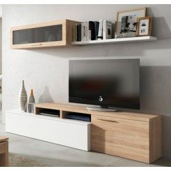 mueble de saln para tv blanco roble