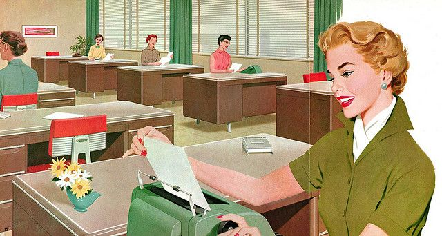 Illustration from Mode-Maker Metal Business Furniture catalog, circa 1960.: