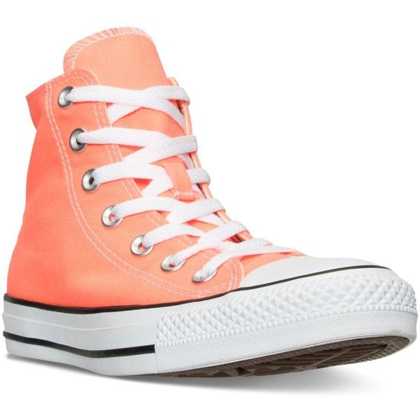 Converse Women's Chuck Taylor Hi Casual Sneakers from Finish Line (€58) ❤ liked on Polyvore featuring shoes, sneakers, hyper orange, converse trainers, converse shoes, vintage footwear, orange shoes and rugged shoes
