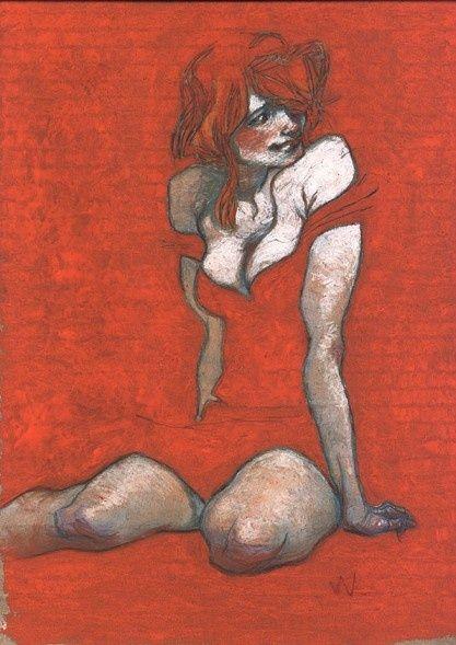 Dessin de Claire Wendling (1967) illustratrice française et auteure de bandes dessinées. #RED