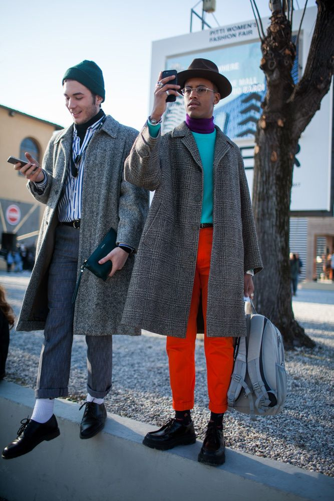 PHOTO BY Kuba Dabrowski (c) Fairchild Fashion Media Street style outside Pitti Uomo.