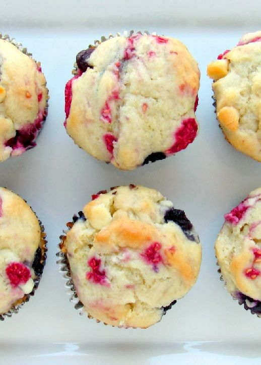 Low FODMAP, Lactose and Gluten Free Recipe - White chocolate, blueberry & raspberry cupcakes