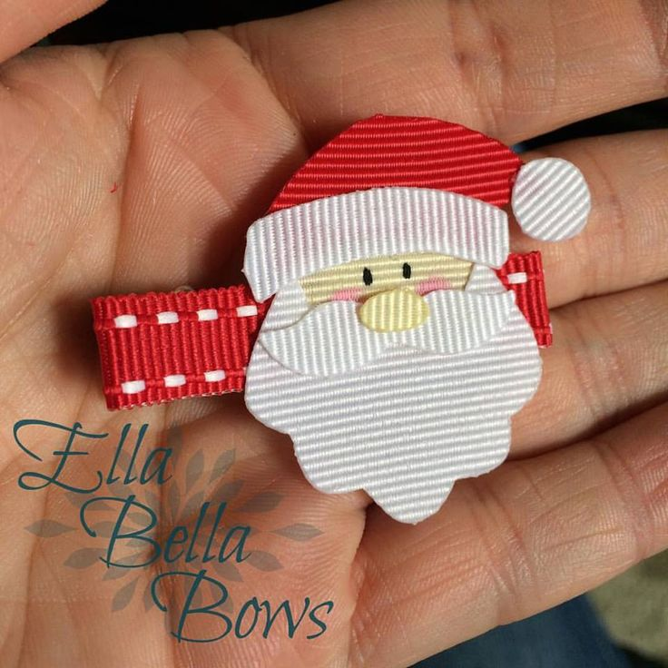 That perfect hair accessory for all believers, an original design, handmade Santa Claus Ribbon Sculpture Hair Bow by EllaBellaBowsWI on Etsy #santa #christmas #handmade