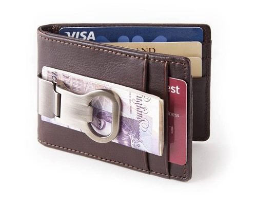 Brown Leather Wallet With Money Clip & Bottle Opener Men's Wallet Card Holder  | eBay